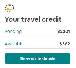 Pending and available balance of Airbnb credit